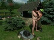 Horny mature redhead slut gets licked outdoor by XNPass