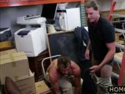 Blonde hunk employee blows dick