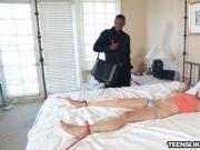 Tiffany Star got huge black cock presented to her mouth