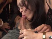 Fantastic tranny bangs handsome dude in a various sex p