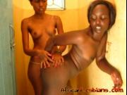 Ebony lesbians finger slippery pussies