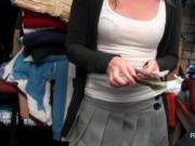 Lovely amateur babe flashing bald twat for cash in a st