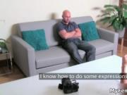 Hot strong bald guy is having an interview as a porn mo