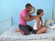Attractive cute face brunette teen gets massaged by hot