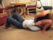 Blonde facesits and smothers slave with her boobs, puss