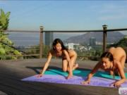 Yoga lesson turns into a hot lesbian act