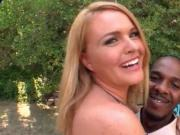 Horny housewife flashing assets seduces a black dude