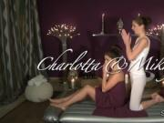 Lesbians massage on inflatable mattress