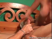 Steamy blond mum getting her small moist cunt sucked an