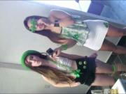 Awesome teen besties enjoying dudes on st pattys day