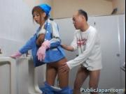 Beautiful maintenance worker is in the mens toilet jav