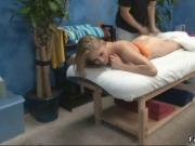 Sexy blonde teen babe gets a hot and sensual massage by