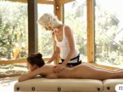 Blonde masseuse make out with her client