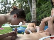College chicks fucking at the pool party with nasty dud