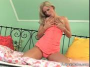 Aroused hot busty blonde babe Sheila Grant getting nake