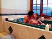 Slim ex girlfriend working huge dick in the bathtub