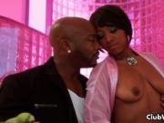 Black gay eats sushi from her shaved pussy before lick