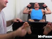 Chance laughs crazy on the tickle chair as he gets tick