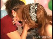 DareRing girl in glasses kissing other girls
