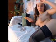 Santa's helper fucks her ass on webcam