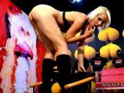 Blonde slut riding cock and gets bukkakes