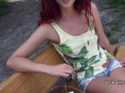Hot redhead sucks and bangs behind bushes