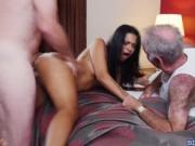 Gorgeous babe Nikki Kay pounded by 2 old men