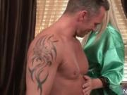 Aroused sexy blond babe jerking dudes cock in the bathr