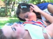 Two horny cheerleading teen girls love licking each oth