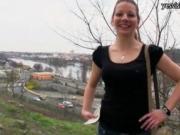 Amateur brunette Czech girl Iveta twat railed in the op