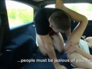 Hot teen and her bf boning in the car until she got a f
