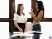 Aubrey Star and Layla Sin lesbian action on the desk