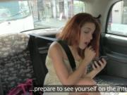 Redhead amateur fucked in fake taxi