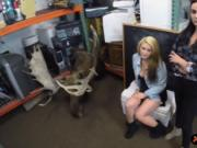 Lesbian babes share a dick in a pawnshop