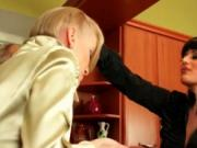 Two blonde Euro babes having a food fight threesome in