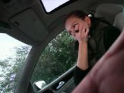 Sexy brunette babe from FakeTaxi gets horny sucking and