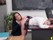 Lesbian threesome makes schoolgirls cum