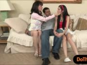 Busty stepmom Rayveness threesome with teens on the cou