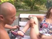 Shy Aika in the park naked on her knees giving a blowjo