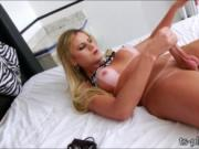 Sizzling hot shemale hand pleases cock