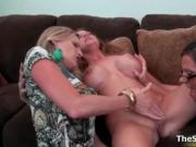 Busty brunette milf gets her pussy licked by two horny