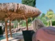 Busty big ass blonde hoe pounded outdoor