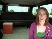 Redhead fellating shaft in POV style in bus