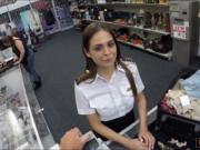 Latina Flight Attendant gives blowjob