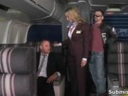 Submissive hot airplane crew taking the clothes off the