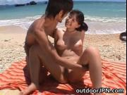 Ai Takeuchi beachfront gangbang 4 by outdoorjpn
