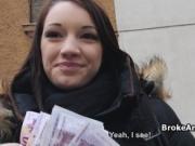 Broke busty amateur fucks for cash