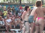 Large party public place becomes really dirty when girl