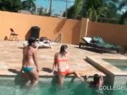 College hotties flashing tits at pool sex party