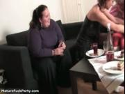 Nasty granny gets horny while waiter appears with no cl